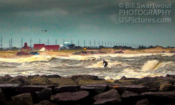 Solitary Surfer at Indian River Inlet
