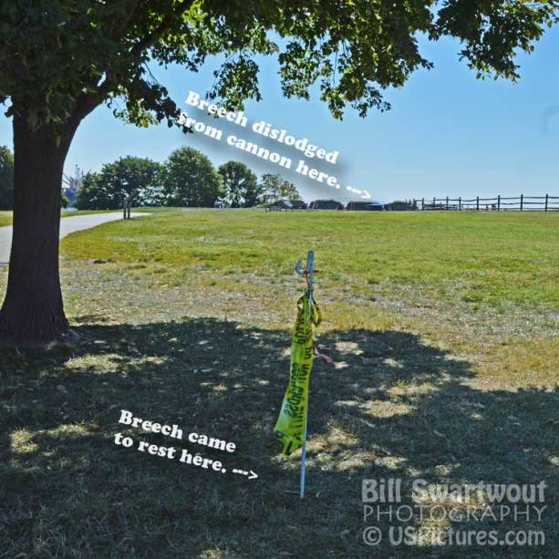 Final resting plac of dislodged breech at Fort McHenry