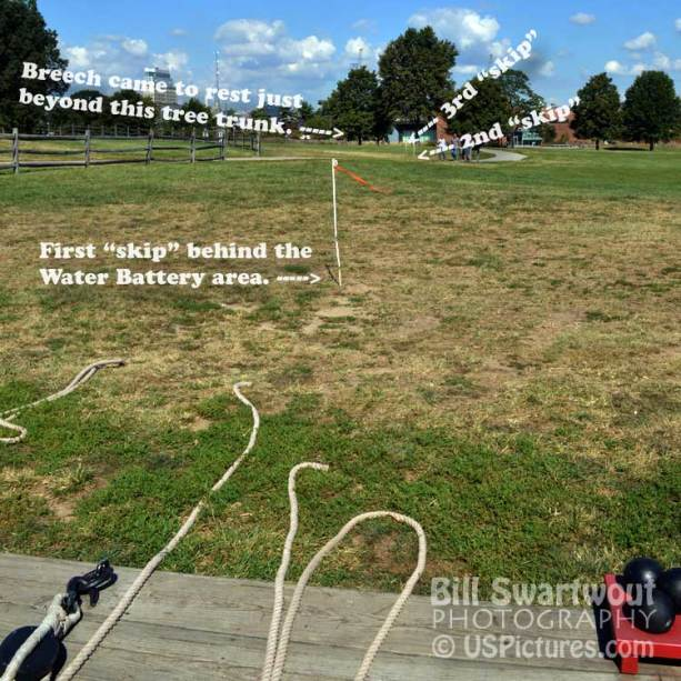 Breech skips from exploding  cannon at Fort McHenry