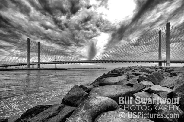Indian River Bridge Picture in Black and White