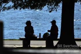 Couple Lunching at Fort McHenry - silhouette