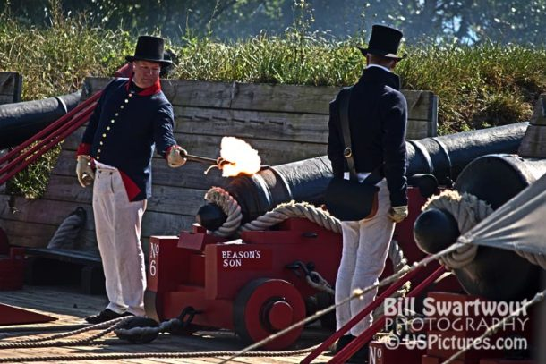 Canon firing at Fort McHenry