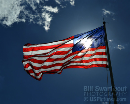 Storm Flag flying over Fort McHenry in Baltimore, MD