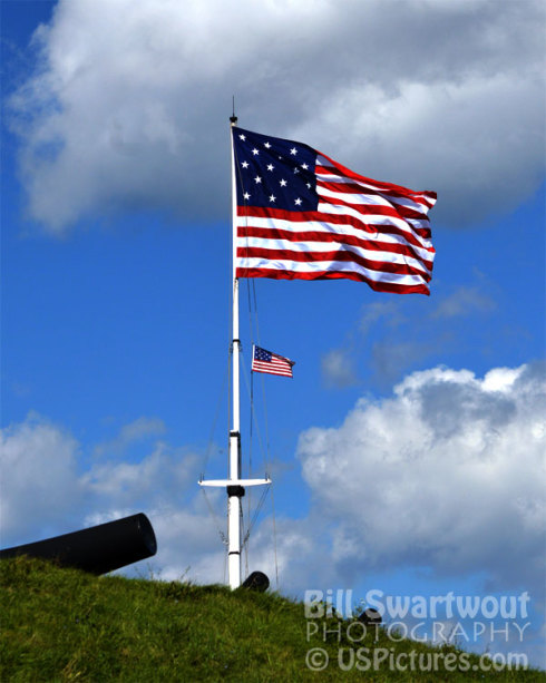 Twin American Flags at Fort McHenry in Baltimore